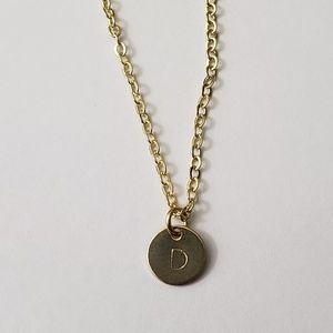 Tiny Initial Round Disc Necklace